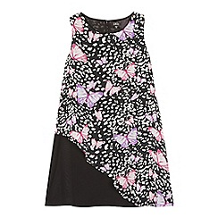 Star by Julien Macdonald - Girls' black asymmetric butterfly print dress
