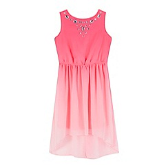 Star by Julien Macdonald - Girls' pink ombre-effect embellished neck dress