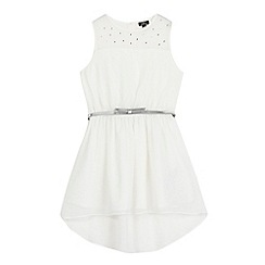 Star by Julien Macdonald - Girls' white illusion neck hi-low dress