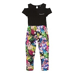 Star by Julien Macdonald - Girls' black tropical print jumpsuit