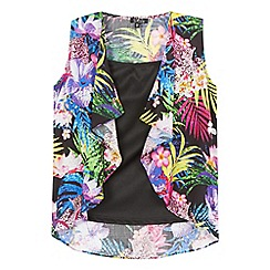 Star by Julien Macdonald - Girls' multi-coloured tropical print kimono with black cami