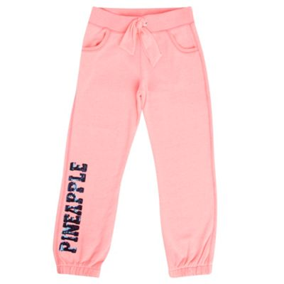 Girls Pink Neon Jogging Bottoms