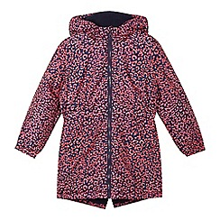 Pineapple - Girls' navy leopard print padded parka coat