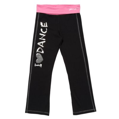Girls Black Contrasting Waist Jogging Bottoms