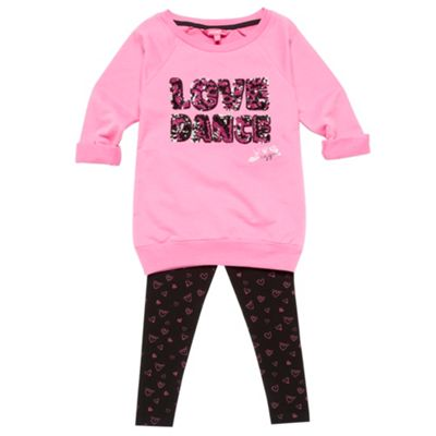 Girls Pink Sweatshirt And Leggings Set