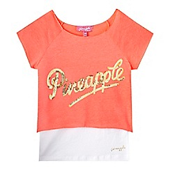 Pineapple - Girls' coral sequin two piece top