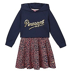 Pineapple - Girls' navy leopard print dress and sequin logo cropped hoodies set