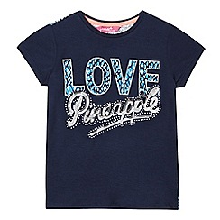 Pineapple - Girls' navy reptile print sequin logo top
