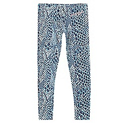 Pineapple - Girls' turquoise reptile print leggings