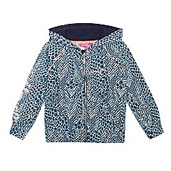 Pineapple - Girls' turquoise reptile print zip hoodie