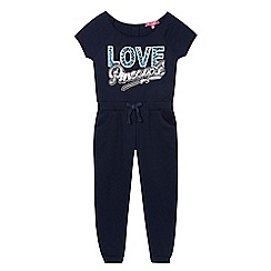 Pineapple - Girls' navy sequinned logo jumpsuit