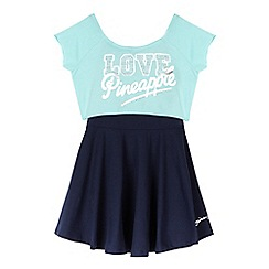 Pineapple - Girls' navy dress and turquoise crop top set