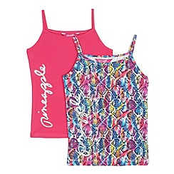 Pineapple - Pack of two girls' pink and multi-coloured snakeskin-effect print vest top