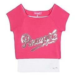 Pineapple - Girls' pink sequinned cropped top and white vest set