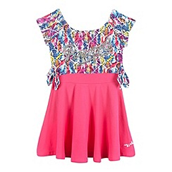 Pineapple - Girls' pink skater dress and snakeskin-effect print cropped top set