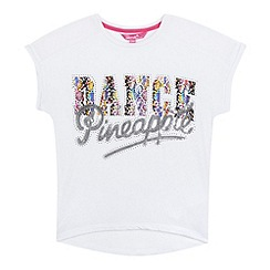 Pineapple - Girls' white mesh back logo print t-shirt