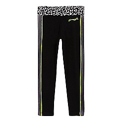 Pineapple - Girls' black mesh panel animal print leggings