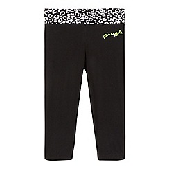 Pineapple - Girls' black animal print cropped joggers