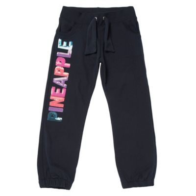 Girls Navy Fluorescent Sequinned Jogging Bottoms