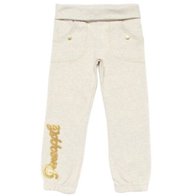 Girls Cream Logo Jogging Bottoms