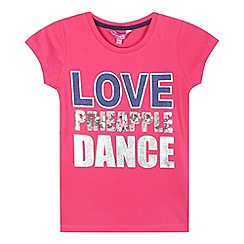 Pineapple - Girls' pink sequin detail t-shirt