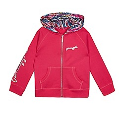 Pineapple - Girls' pink zip through hoodie