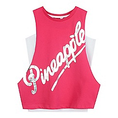 Pineapple - Girls  pink drop arm vest
