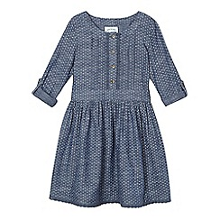 Mantaray - Girls' blue chambray circle print dress