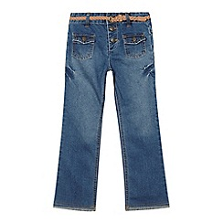 Mantaray - Girls' mid blue bootcut belted jeans