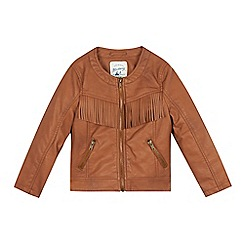 Mantaray - Girls' tan fringed jacket