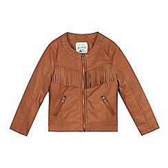 Mantaray - Girls' tan fringed jacket