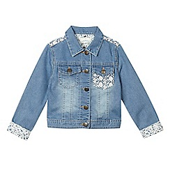 Mantaray - Girls' mid blue crochet denim jacket