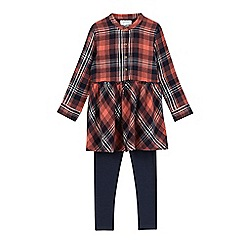 Mantaray - Girls' red checked tunic and leggings set