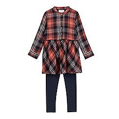 Mantaray - Girls' red checked tunic and leggings set