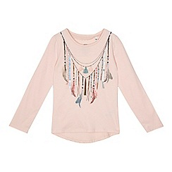 Mantaray - Girls' light pink feather top