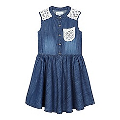 Mantaray - Girls' mid blue lace denim dress