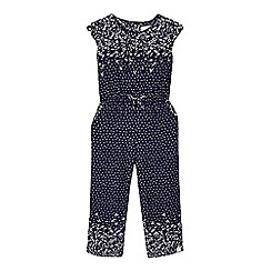 Mantaray - Girls' navy floral print jumpsuit