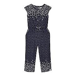 Mantaray - Girls' navy floral print jumpsuit