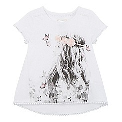 Mantaray - Girls' white photographic girl printed t-shirt