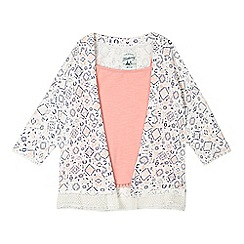 Mantaray - Girls' cream ditsy diamond kimono and pink vest top set