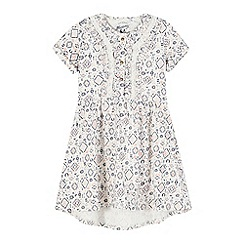 Mantaray - Girls' cream diamond floral print dress