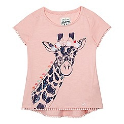 Mantaray - Girls' pink sequinned giraffe t-shirt
