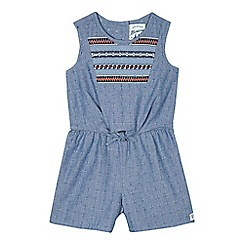 Mantaray - Girls' blue chambray embroidered playsuit