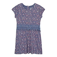 Mantaray - Girls' navy Aztec print jersey dress