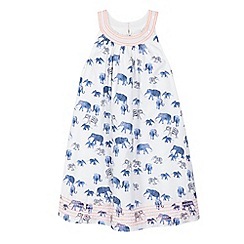 Mantaray - Girls' white elephant print dress