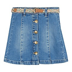 Mantaray - Girls' light blue denim A-line skirt