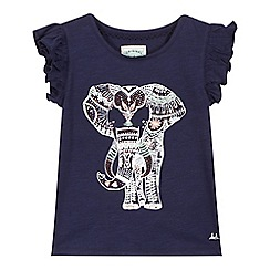 Mantaray - Girls' navy elephant print t-shirt