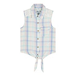 Mantaray - Girls' blue sleeveless checked shirt
