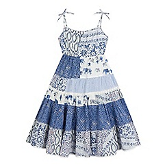 Mantaray - Girls' blue tile print maxi dress
