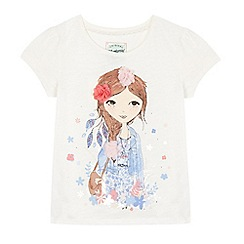Mantaray - Girls' white girl print t-shirt